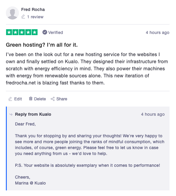 Short exchange on review website Trustpilot