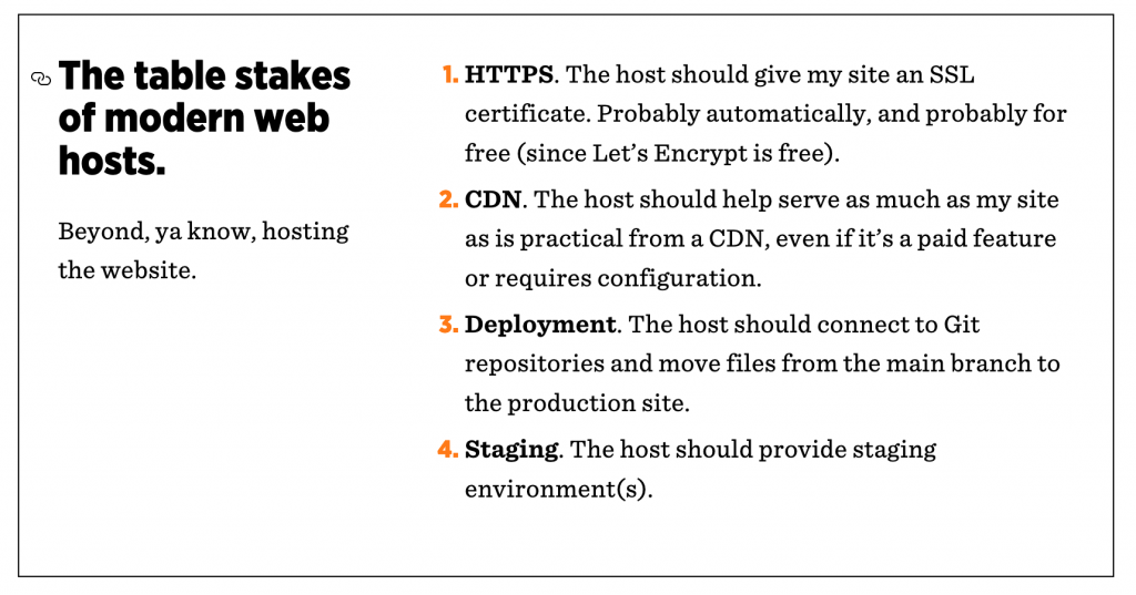 Chris Coyer lists the table stakes for modern website hosts